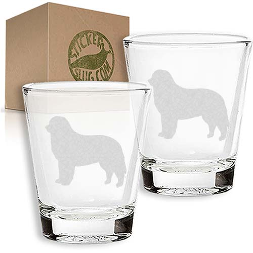 bernese mountain dog engraved etched shot glass set