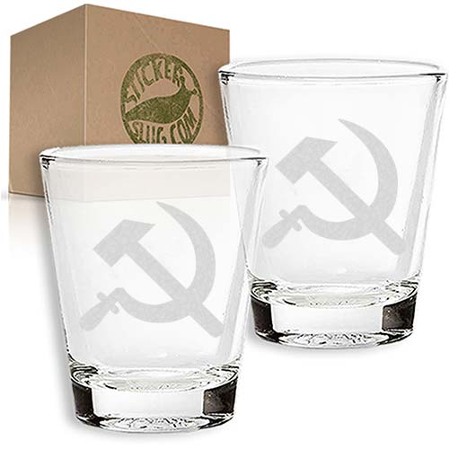 communist hammer and sickle engraved etched shot glass set