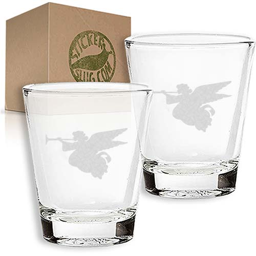 angel engraved etched shot glass set