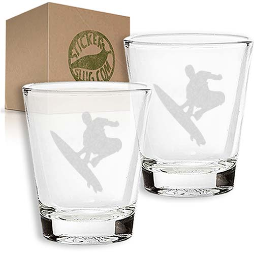 surfing engraved etched shot glass set