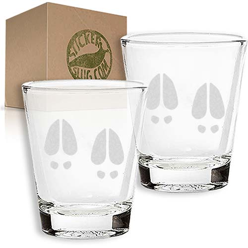 deer footprint engraved etched shot glass set