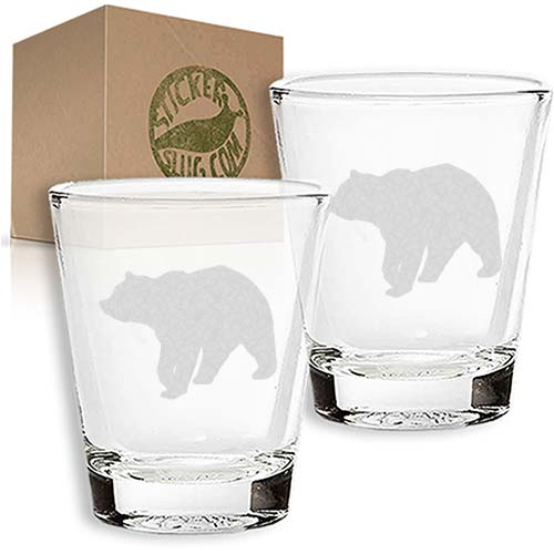 grizzle bear engraved etched shot glass set