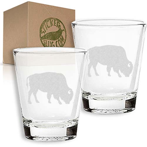 buffalo engraved etched shot glass set