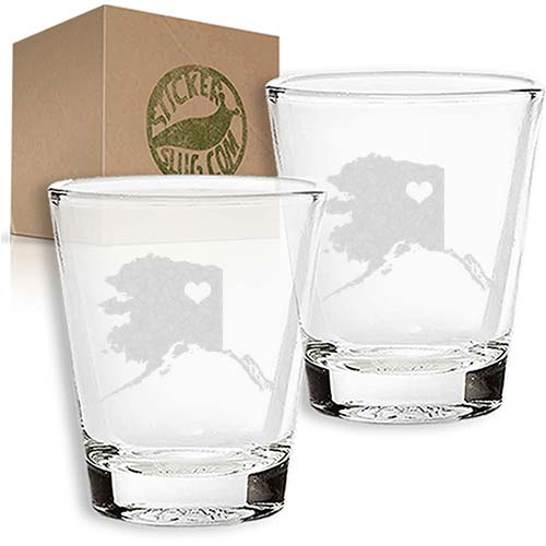 alaska state love engraved etched shot glass set