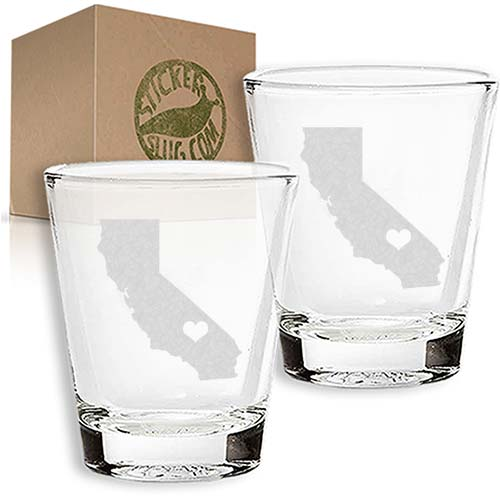 california state love engraved etched shot glass set