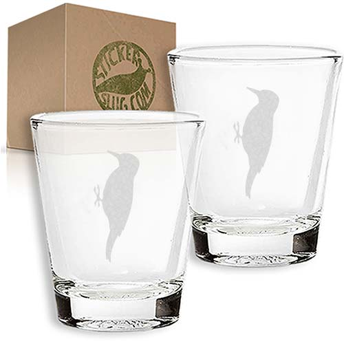 sparrow engraved etched shot glass set