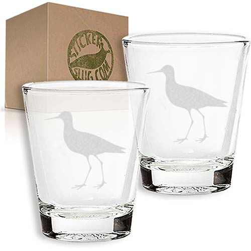 heron engraved etched shot glass set