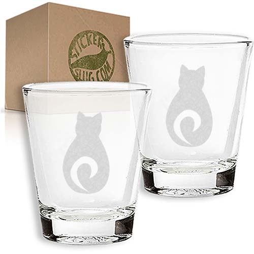 cat engraved etched shot glass set