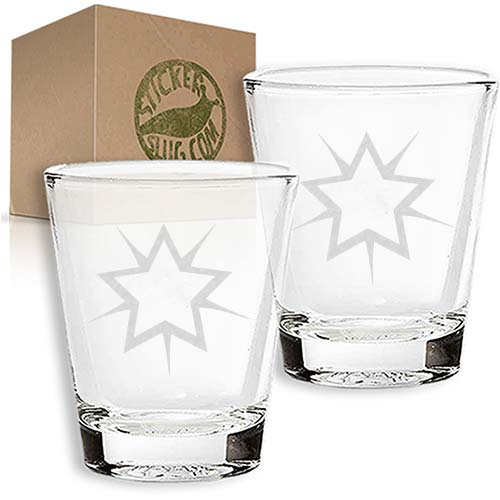 star engraved etched shot glass set