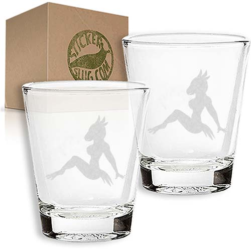 bird silhouette engraved etched shot glass set