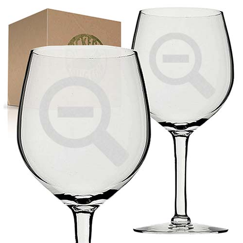 zoom out engraved etched wine glass set
