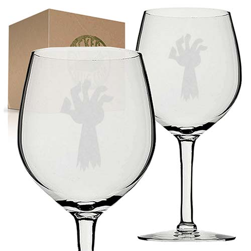 zombie hand engraved etched wine glass set
