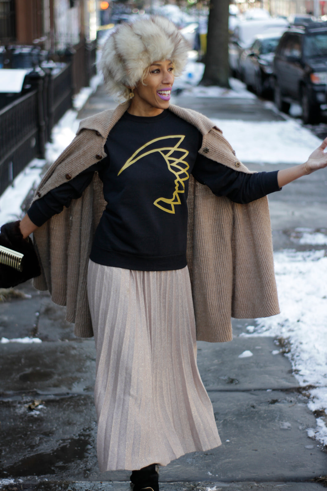 NOK Warrior Crew Neck Sweatshirt in Noir/Gold.