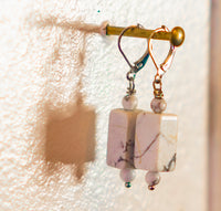 White Howlite Drop Earrings by NOA