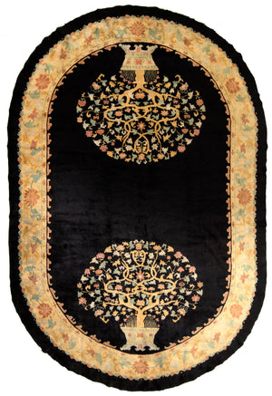 Chinese Oval Hand-Made Wool Rug - Tabak Rugs