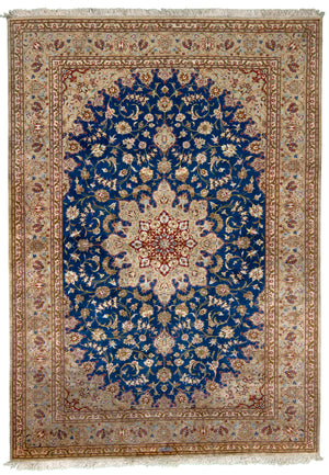 Persian Kum Mehdi Hand-Made Silk Rug - Tabak Rugs
