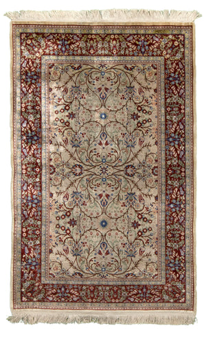 Persian Kum Hand-Made Silk Rug - Tabak Rugs