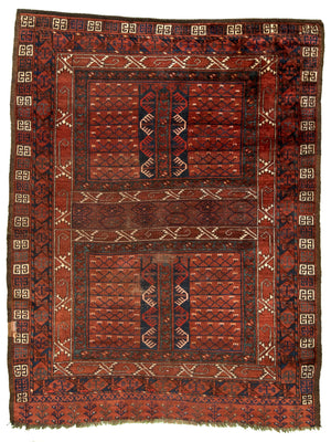 Turkmen Hachla Hand-Made Wool Rug - Tabak Rugs
