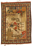Middle-Eastern Pictural Hand-Made Wool Rug - Tabak Rugs