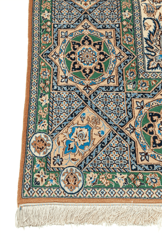 Persian Nain Akhbari Hand-Made Wool, Silk Rug - Tabak Rugs
