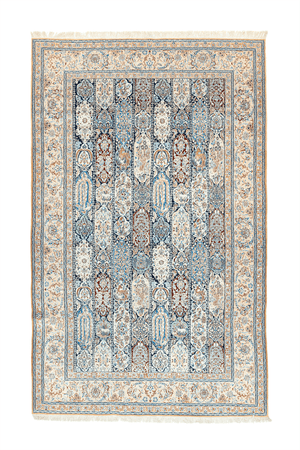 Persian Striped Nain Hand-Made Wool, Silk Rug - Tabak Rugs