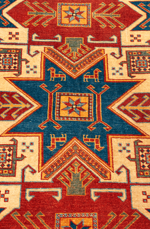 Pakistani Star Kazak Hand-Made Wool Rug - Tabak Rugs