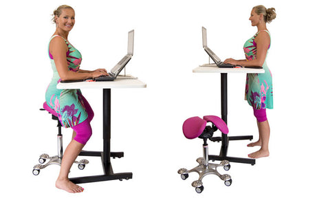 sit stand desk with saddle chair