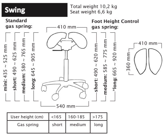 Salli Swing Specifications