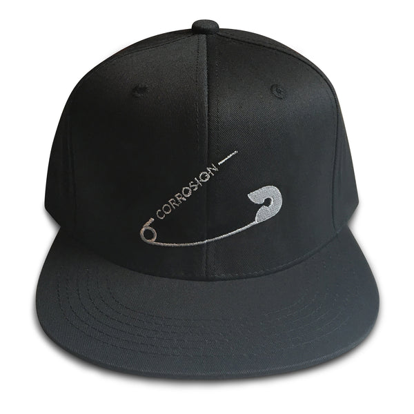 safety pin black snapback