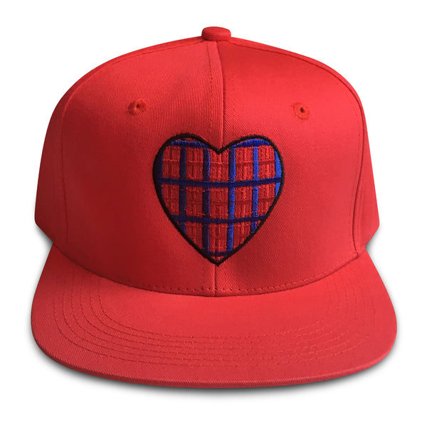 hand on your heart red snapback