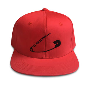 safety pin red snapback