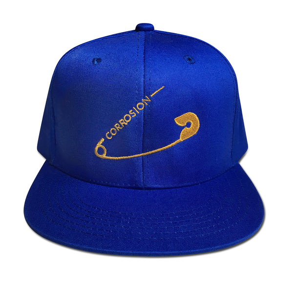 safety pin royal blue cap