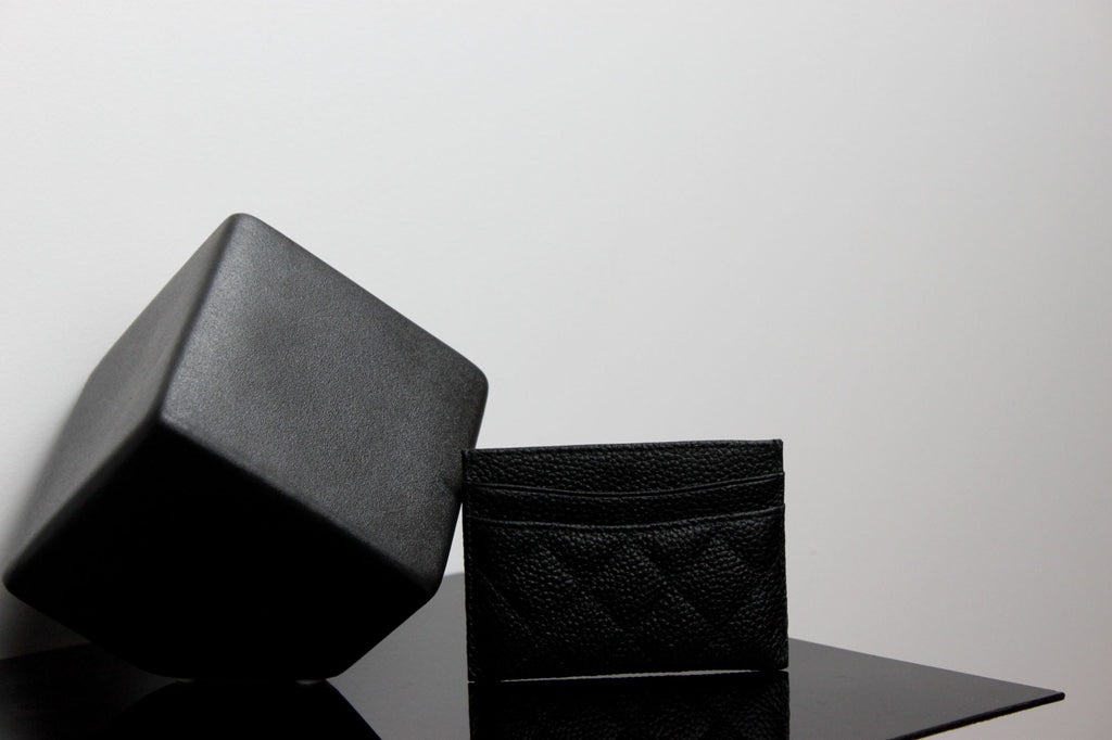 quilted leather cardholder-black