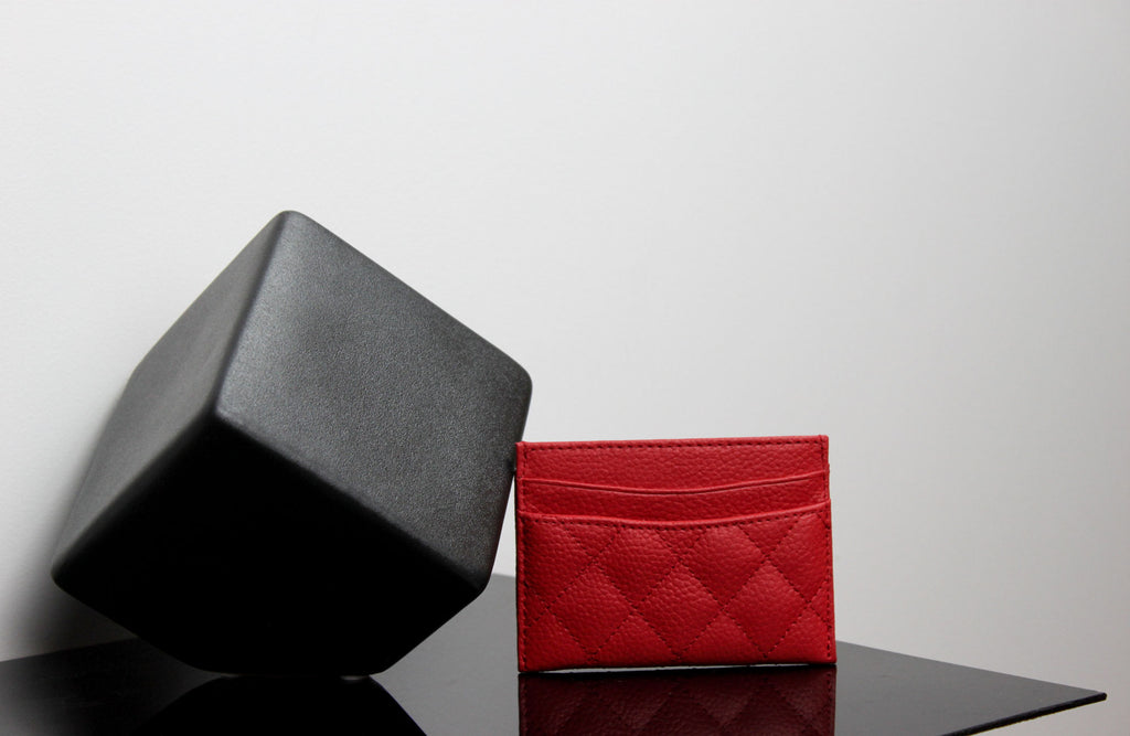 quilted leather cardholder-red