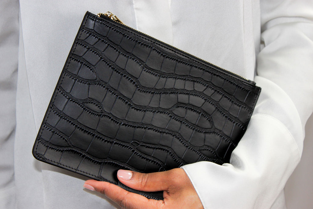 Croc Leather Pouch- Black