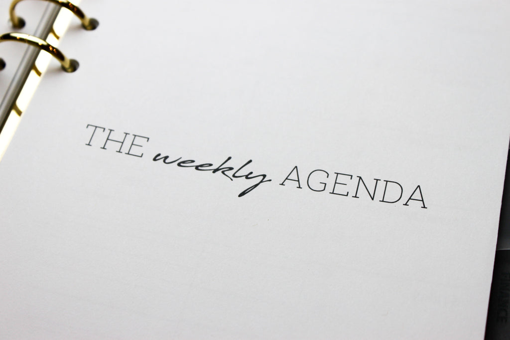 2019 Planner Refill, The Weekly Agenda/ Recap