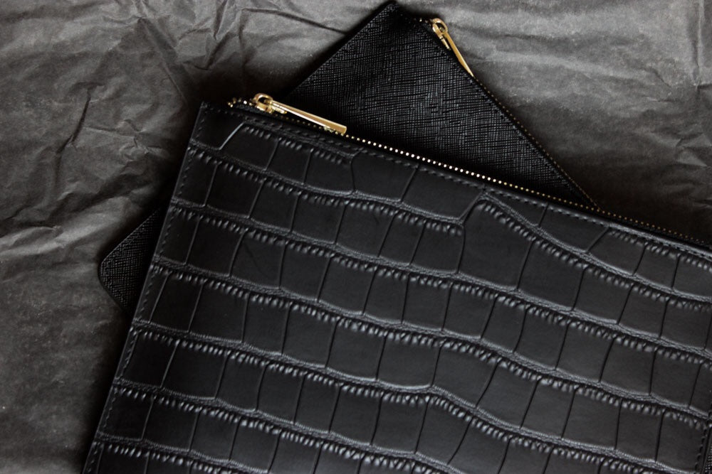 Croc Leather Pouch