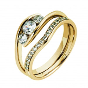 9kt Yellow Gold CZ Trinity Swirl Ring