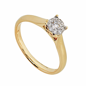 9Kt YG Aura Diamond Ring 0.18ct