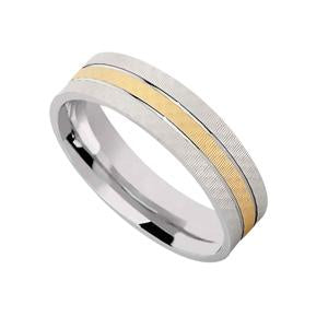 Silver and Gold Plated Patterned Wedding Band