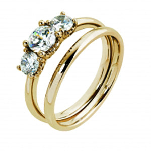 9kt Yellow Gold CZ 3 Stone, Hrts Cut Out Sides Ring