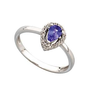 9kt White Gold Tanzanite and Diamond Ring