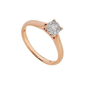 9kt Rose Gold Aura Diamond Ring 0.18ct