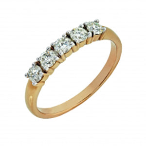 9kt Yellow Gold 5 Stone Trilogy Ring