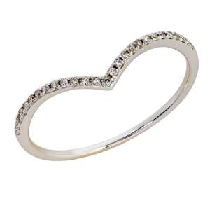 9kt White Gold Diamond Curved Ring