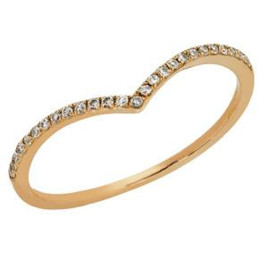 9kt Yellow Gold Diamond Curved Ring