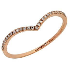 9kt Rose Gold Diamond Curved Ring