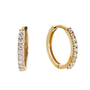 9kt Yellow Gold CZ Hoop Earrings