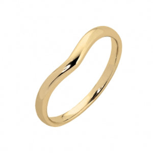 9kt Yellow Gold Plain Curved Side Band