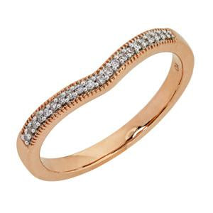 9kt Rose Gold Pave Diamond Curved Ring